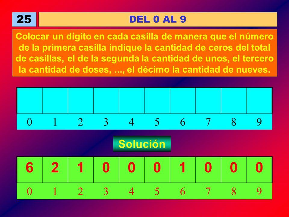DEL 0 AL 9 25 Colocar un dígito en cada casilla de manera que el número de la primera casilla indique la cantidad de ceros del total de casillas, el d