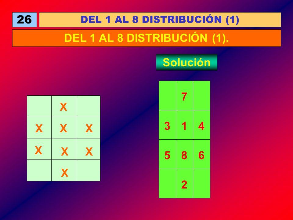 26 DEL 1 AL 8 DISTRIBUCIÓN (1) DEL 1 AL 8 DISTRIBUCIÓN (1). Solución X X X XX X X X 1 8 7 65 43 2