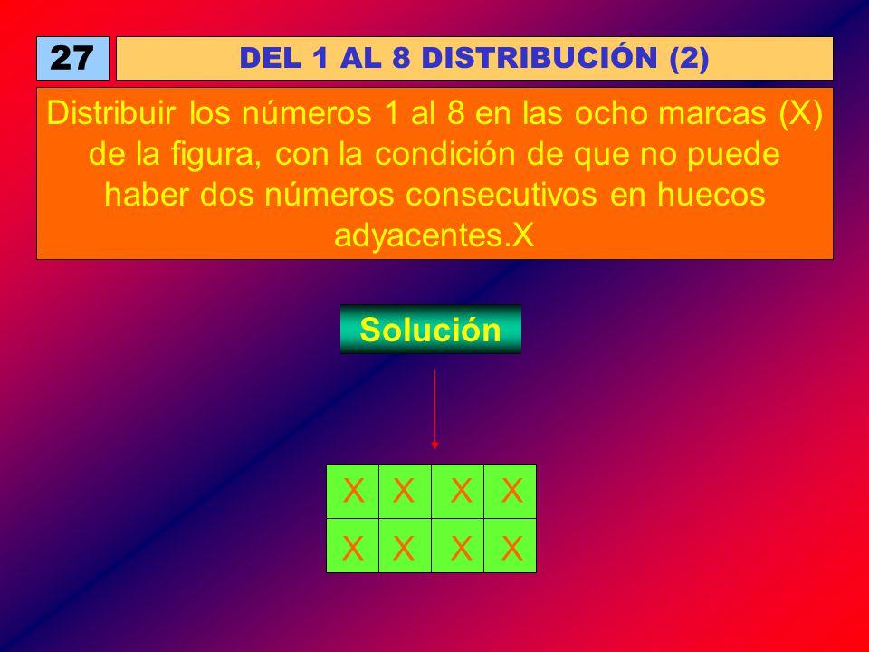 27 DEL 1 AL 8 DISTRIBUCIÓN (2) Distribuir los números 1 al 8 en las ocho marcas (X) de la figura, con la condición de que no puede haber dos números c