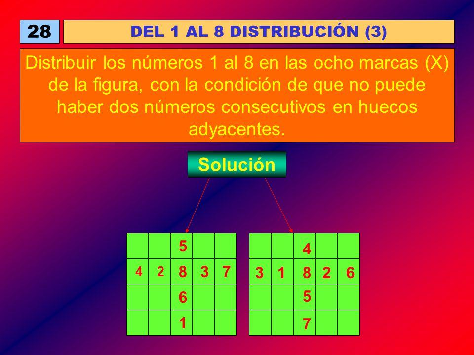 28 DEL 1 AL 8 DISTRIBUCIÓN (3) Distribuir los números 1 al 8 en las ocho marcas (X) de la figura, con la condición de que no puede haber dos números c