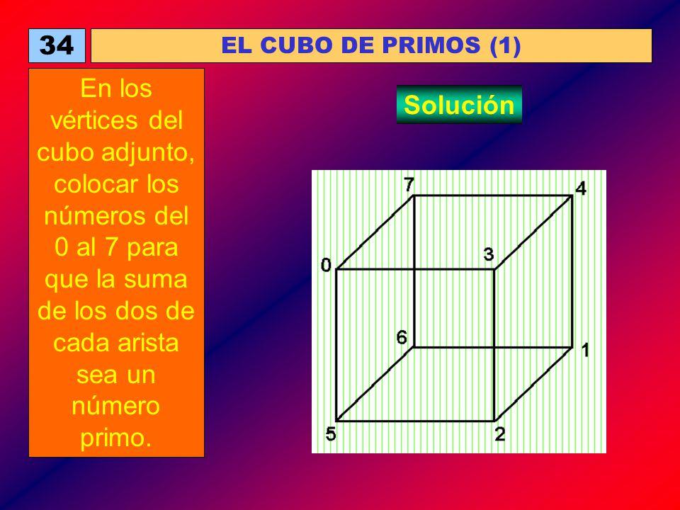34 EL CUBO DE PRIMOS (1) En los vértices del cubo adjunto, colocar los números del 0 al 7 para que la suma de los dos de cada arista sea un número pri