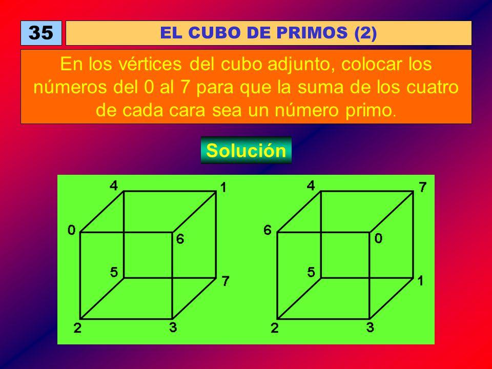 35 EL CUBO DE PRIMOS (2) En los vértices del cubo adjunto, colocar los números del 0 al 7 para que la suma de los cuatro de cada cara sea un número pr