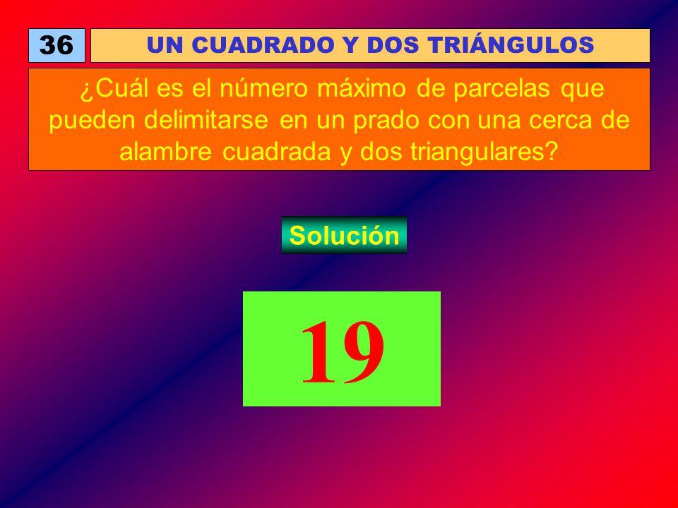 36 UN CUADRADO Y DOS TRIÁNGULOS ¿Cuál es el número máximo de parcelas que pueden delimitarse en un prado con una cerca de alambre cuadrada y dos trian