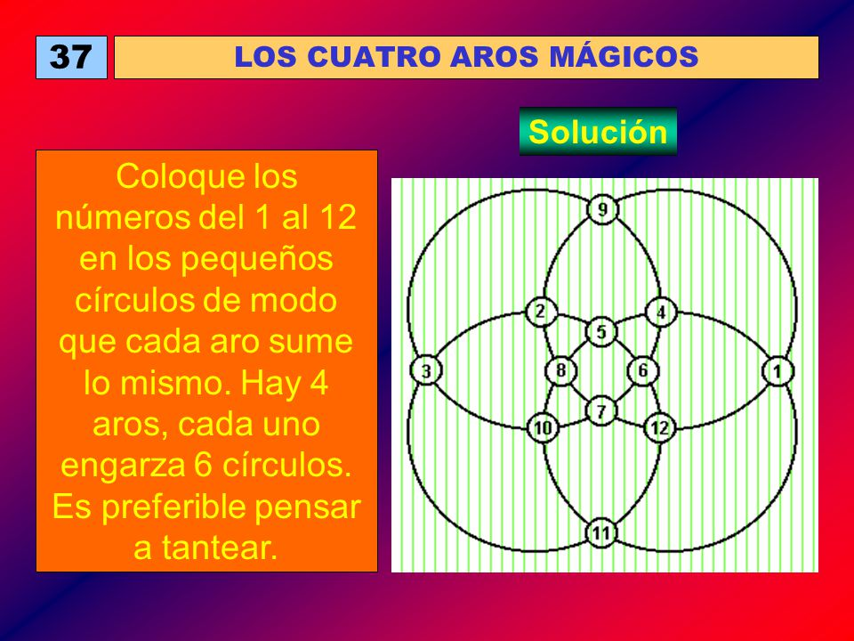 37 LOS CUATRO AROS MÁGICOS Coloque los números del 1 al 12 en los pequeños círculos de modo que cada aro sume lo mismo. Hay 4 aros, cada uno engarza 6
