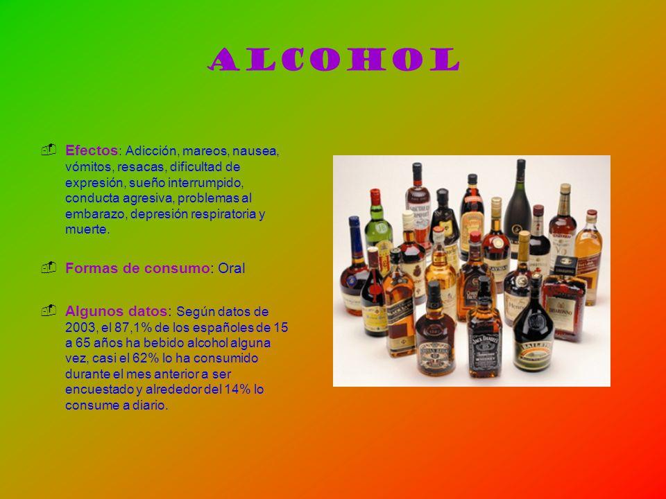Alcohol Efectos : Adicción, mareos, nausea, vómitos, resacas, dificultad de expresión, sueño interrumpido, conducta agresiva, problemas al embarazo, d