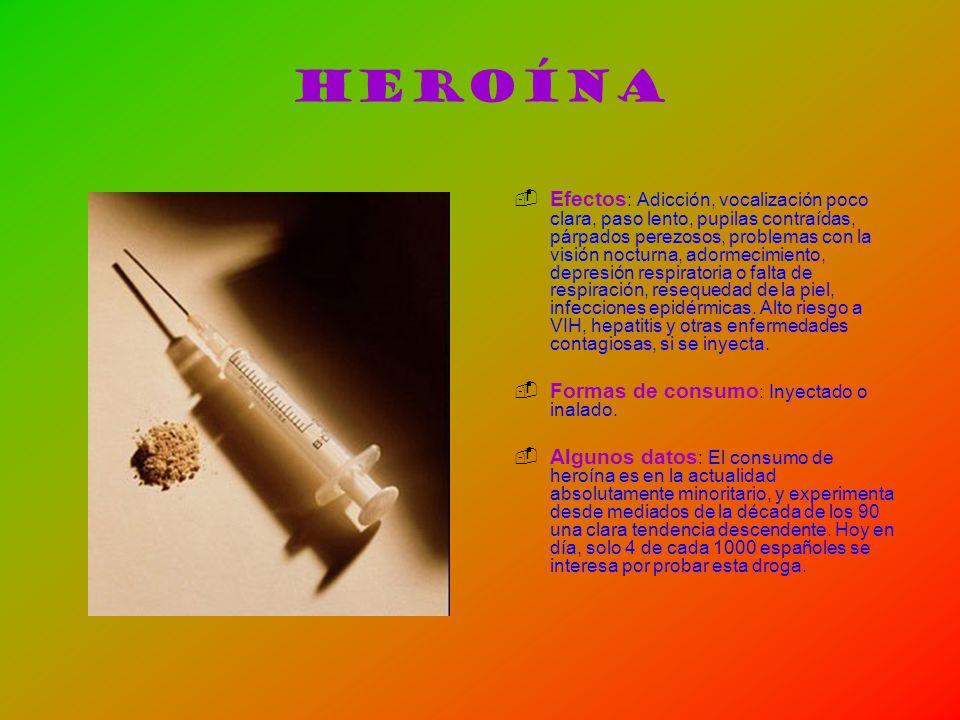 Heroína Efectos : Adicción, vocalización poco clara, paso lento, pupilas contraídas, párpados perezosos, problemas con la visión nocturna, adormecimie