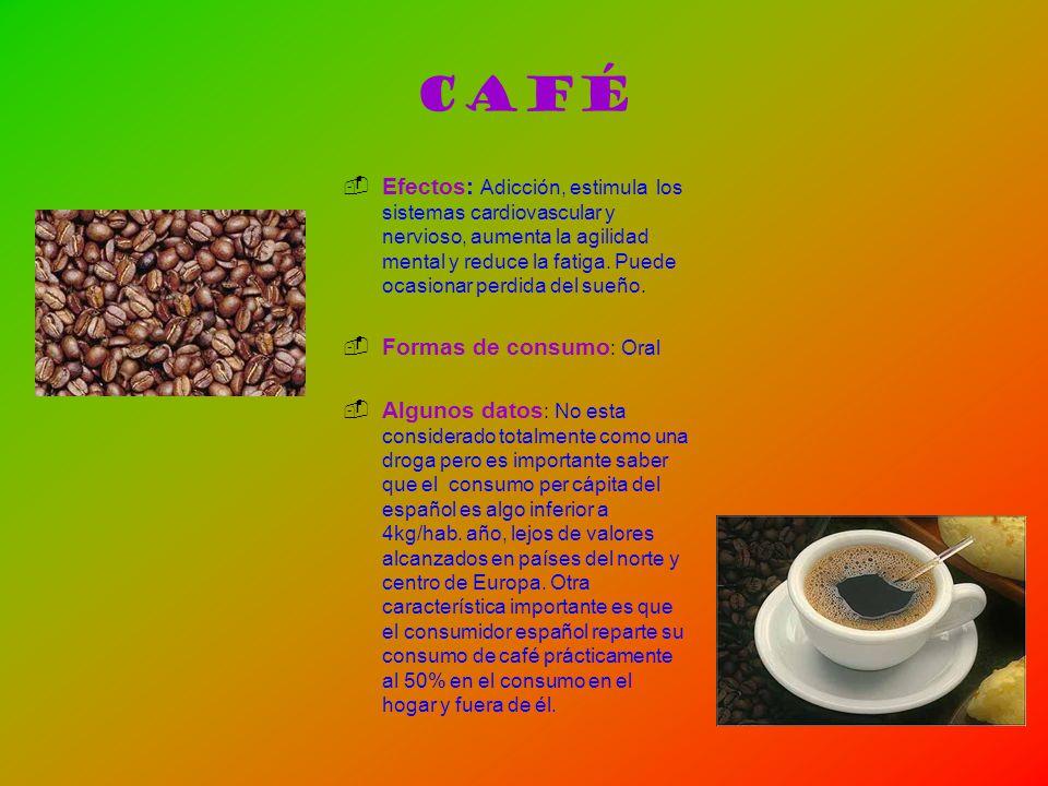 Café Efectos: Adicción, estimula los sistemas cardiovascular y nervioso, aumenta la agilidad mental y reduce la fatiga. Puede ocasionar perdida del su