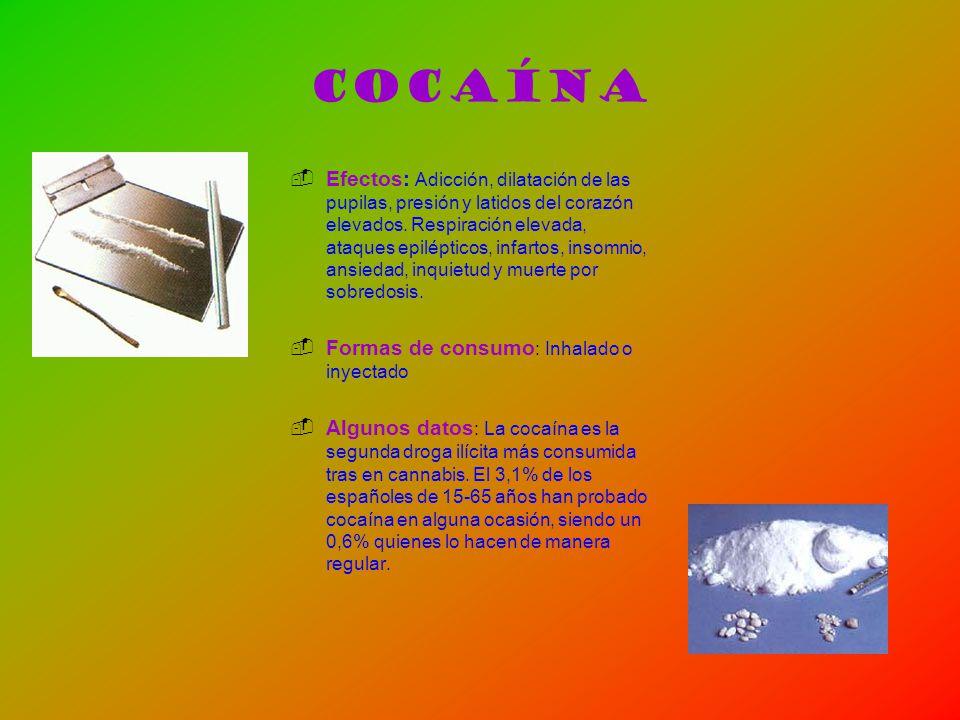 Cocaína Efectos: Adicción, dilatación de las pupilas, presión y latidos del corazón elevados. Respiración elevada, ataques epilépticos, infartos, inso