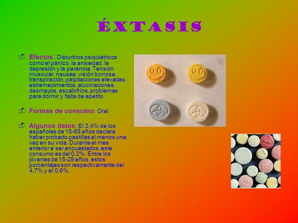 Éxtasis Efectos : Disturbios psiquiátricos como el pánico, la ansiedad, la depresión y la paranoia. Tensión muscular, nausea, visión borrosa, transpir