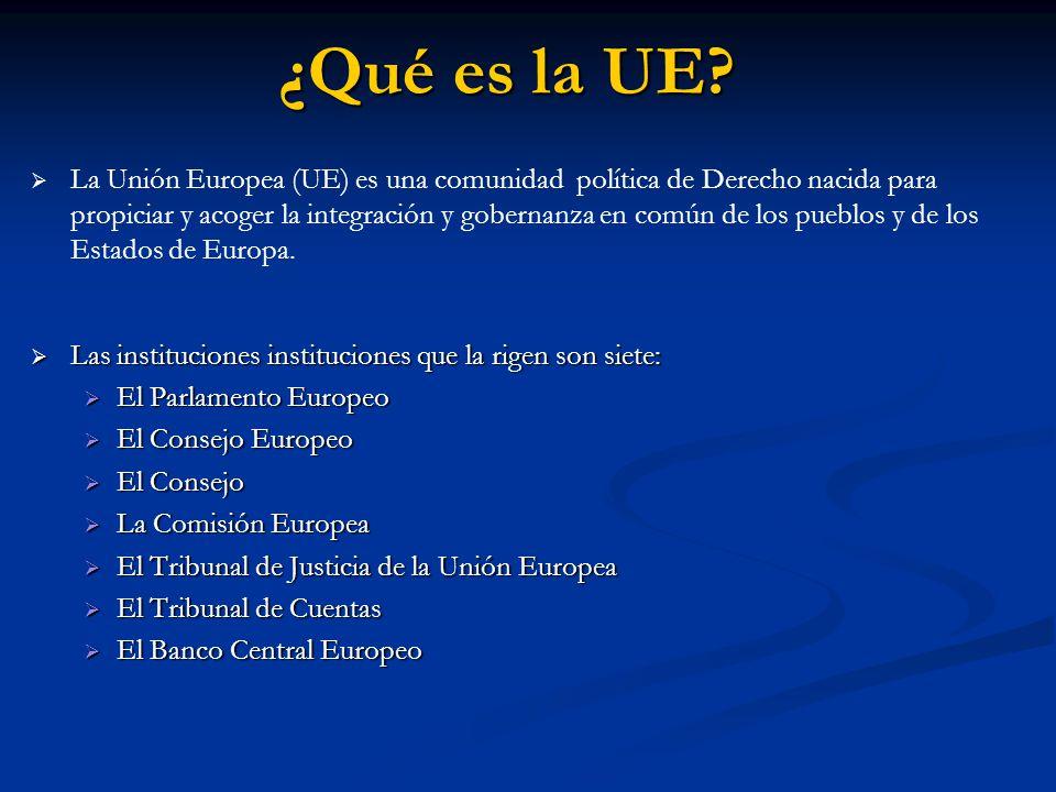 ¿Qué es la UE? La Unión Europea (UE) es una comunidad política de Derecho nacida para propiciar y acoger la integración y gobernanza en común de los p