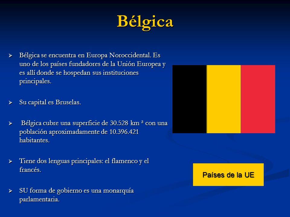 Bélgica Bélgica se encuentra en Europa Noroccidental. Es uno de los países fundadores de la Unión Europea y es allí donde se hospedan sus institucione