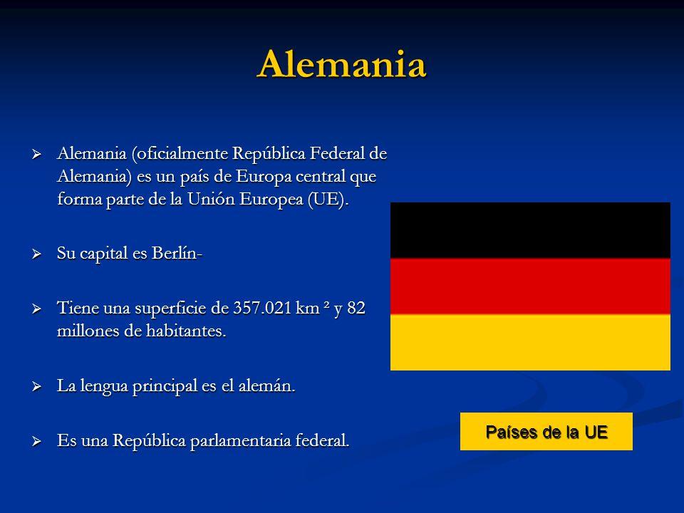Alemania Alemania (oficialmente República Federal de Alemania) es un país de Europa central que forma parte de la Unión Europea (UE). Alemania (oficia