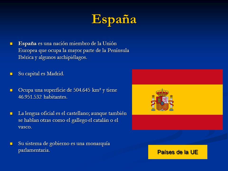 España España es una nación miembro de la Unión Europea que ocupa la mayor parte de la Península Ibérica y algunos archipiélagos. España es una nación