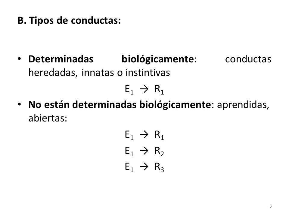 B. Tipos de conductas: Determinadas biológicamente: conductas heredadas, innatas o instintivas E 1 R 1 No están determinadas biológicamente: aprendida