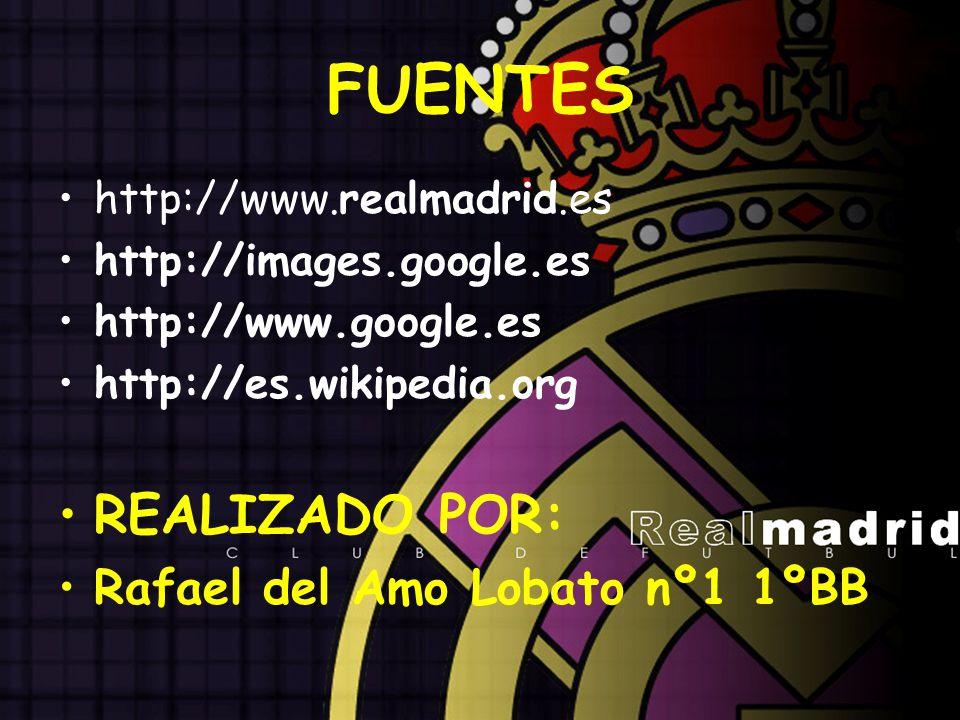 FUENTES http://www.realmadrid.es http://images.google.es http://www.google.es http://es.wikipedia.org REALIZADO POR: Rafael del Amo Lobato nº1 1ºBB