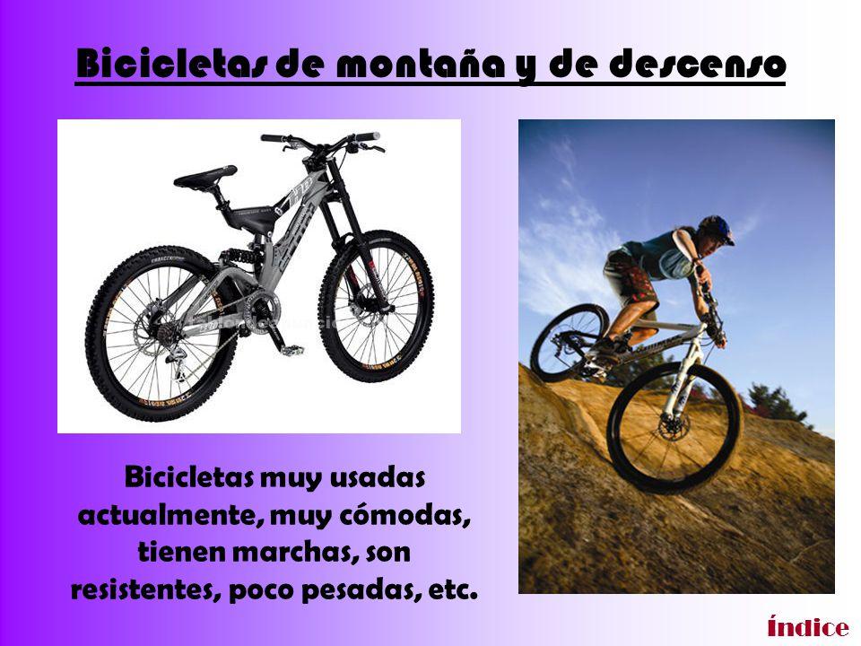Bicicletas de montaña y de descenso Bicicletas muy usadas actualmente, muy cómodas, tienen marchas, son resistentes, poco pesadas, etc. Índice