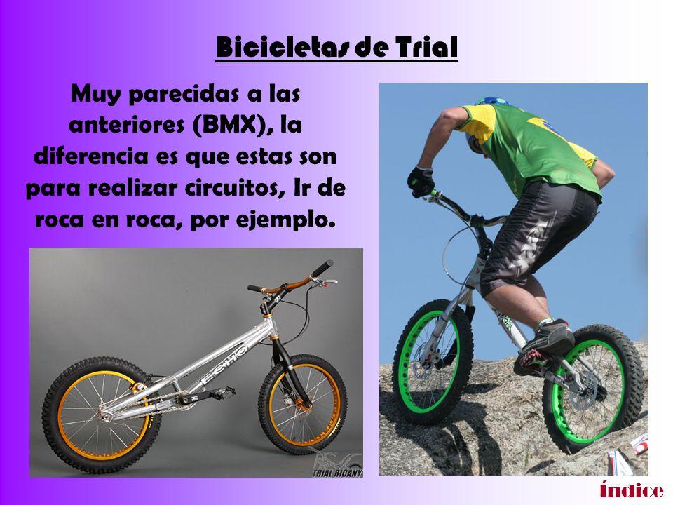 Bicicletas de Trial Muy parecidas a las anteriores (BMX), la diferencia es que estas son para realizar circuitos, Ir de roca en roca, por ejemplo. Índ