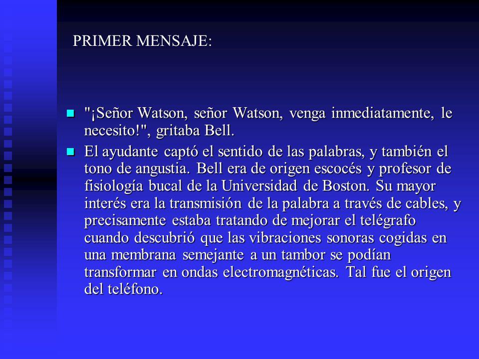 ¡Señor Watson, señor Watson, venga inmediatamente, le necesito! , gritaba Bell.