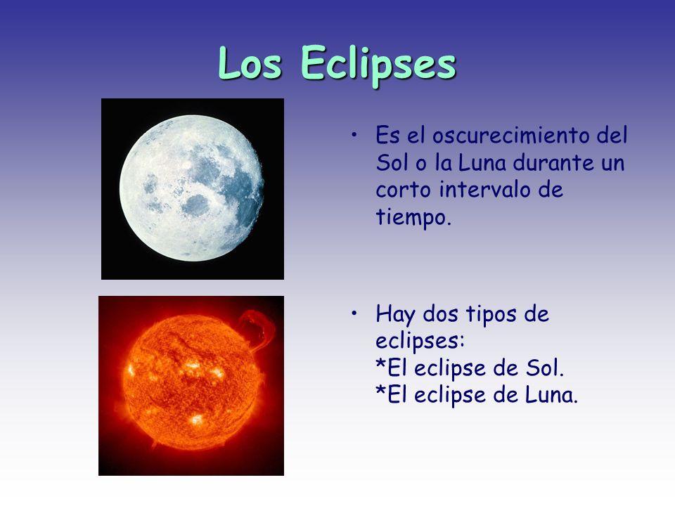 Los Eclipses Es el oscurecimiento del Sol o la Luna durante un corto intervalo de tiempo. Hay dos tipos de eclipses: *El eclipse de Sol. *El eclipse d