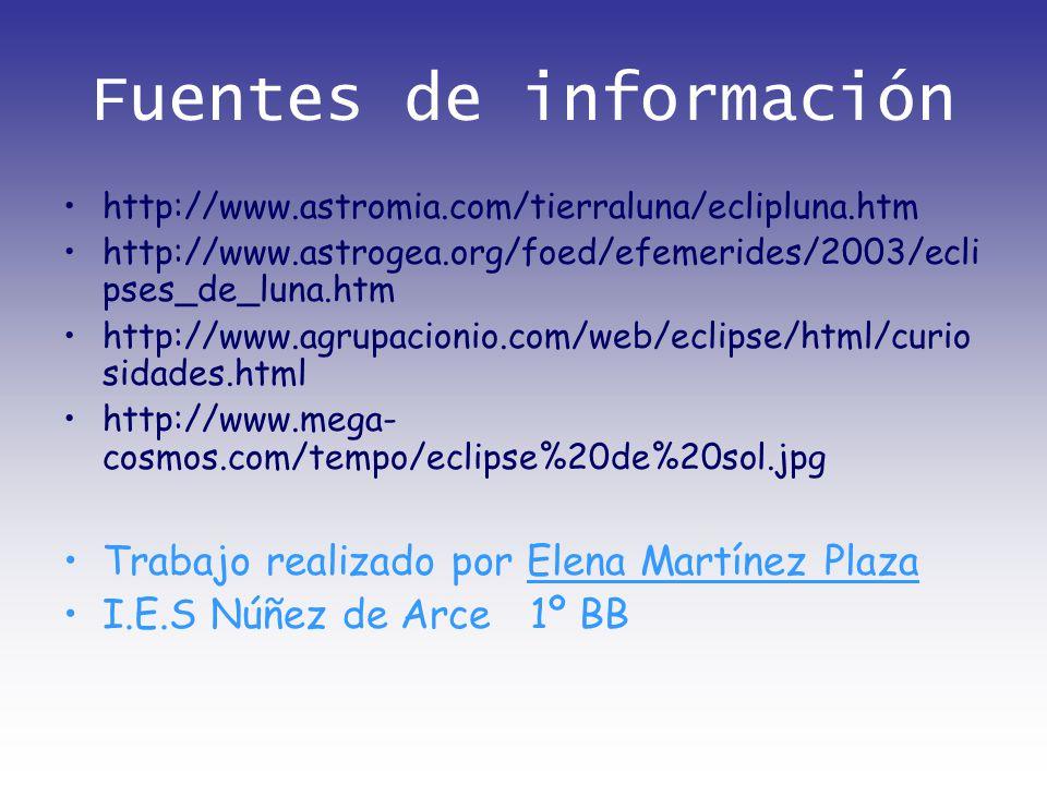 Fuentes de información http://www.astromia.com/tierraluna/eclipluna.htm http://www.astrogea.org/foed/efemerides/2003/ecli pses_de_luna.htm http://www.