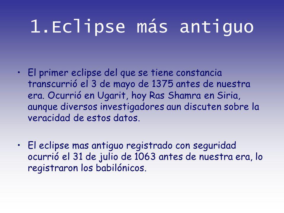 1.Eclipse más antiguo El primer eclipse del que se tiene constancia transcurrió el 3 de mayo de 1375 antes de nuestra era. Ocurrió en Ugarit, hoy Ras