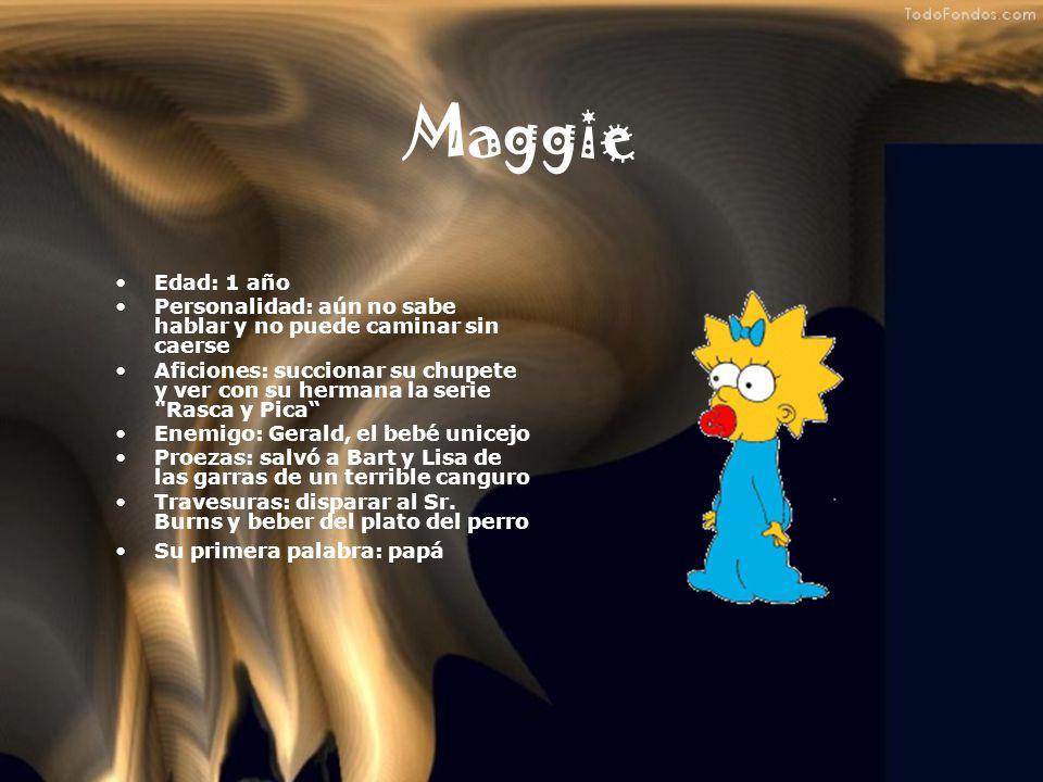 Lisa Simpsons Edad: 8 años Profesión: estudiante y saxofonista por vocación Personalidad: es la típica niña perfecta, estudiosa, inteligente y educada