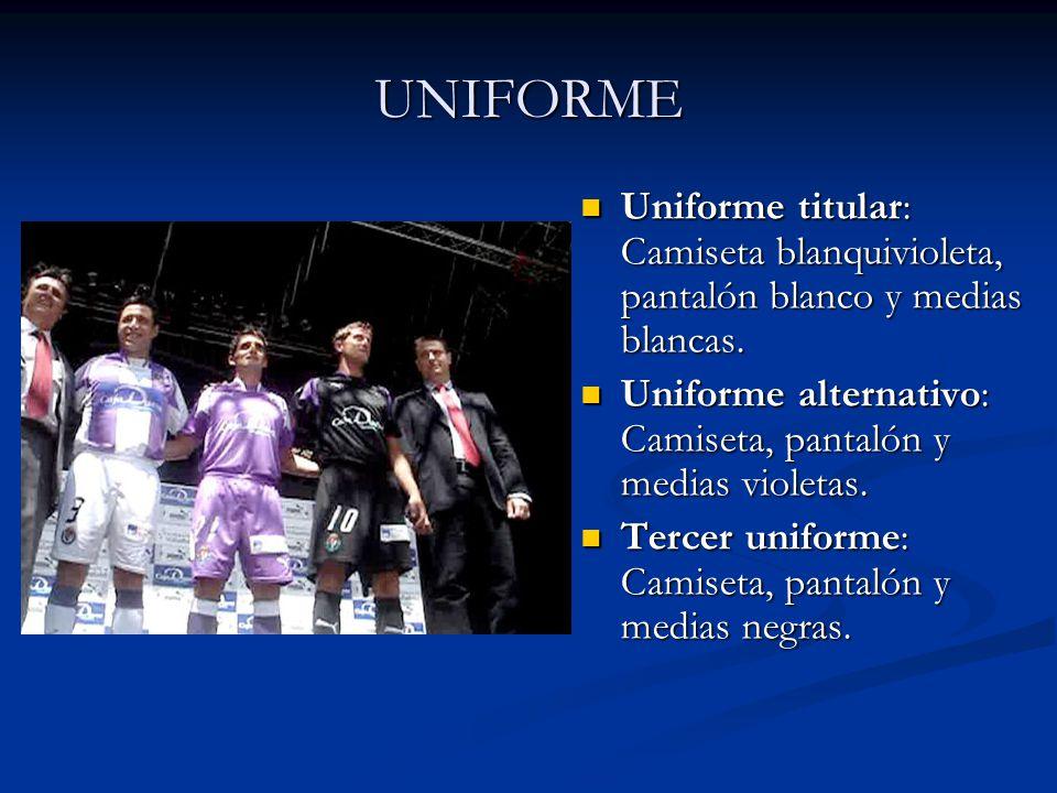 UNIFORME Uniforme titular: Camiseta blanquivioleta, pantalón blanco y medias blancas. Uniforme alternativo: Camiseta, pantalón y medias violetas. Terc