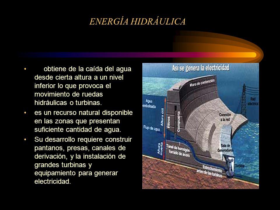 ENERGÍA HIDRÁULICA se obtiene de la caída del agua desde cierta altura a un nivel inferior lo que provoca el movimiento de ruedas hidráulicas o turbinas.