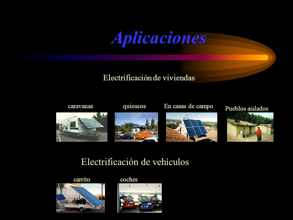 Aplicaciones Electrificación de viviendas En casas de campo Pueblos aislados quioscoscaravanas carritocoches Electrificación de vehículos