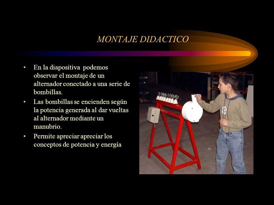 MONTAJE DIDACTICO En la diapositiva podemos observar el montaje de un alternador conectado a una serie de bombillas.