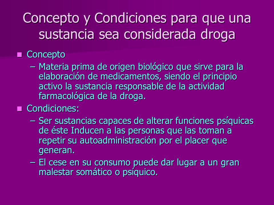 Concepto y Condiciones para que una sustancia sea considerada droga Concepto Concepto –Materia prima de origen biológico que sirve para la elaboración