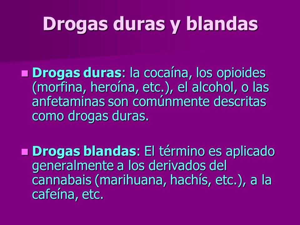 Drogas duras y blandas Drogas duras: la cocaína, los opioides (morfina, heroína, etc.), el alcohol, o las anfetaminas son comúnmente descritas como dr