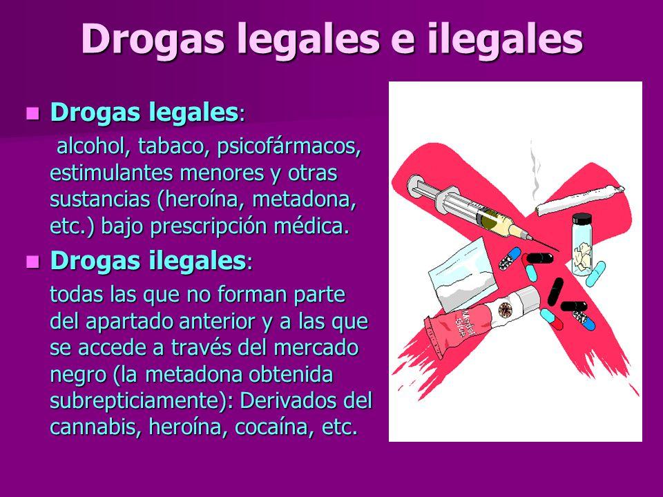 Drogas legales e ilegales Drogas legales : Drogas legales : alcohol, tabaco, psicofármacos, estimulantes menores y otras sustancias (heroína, metadona