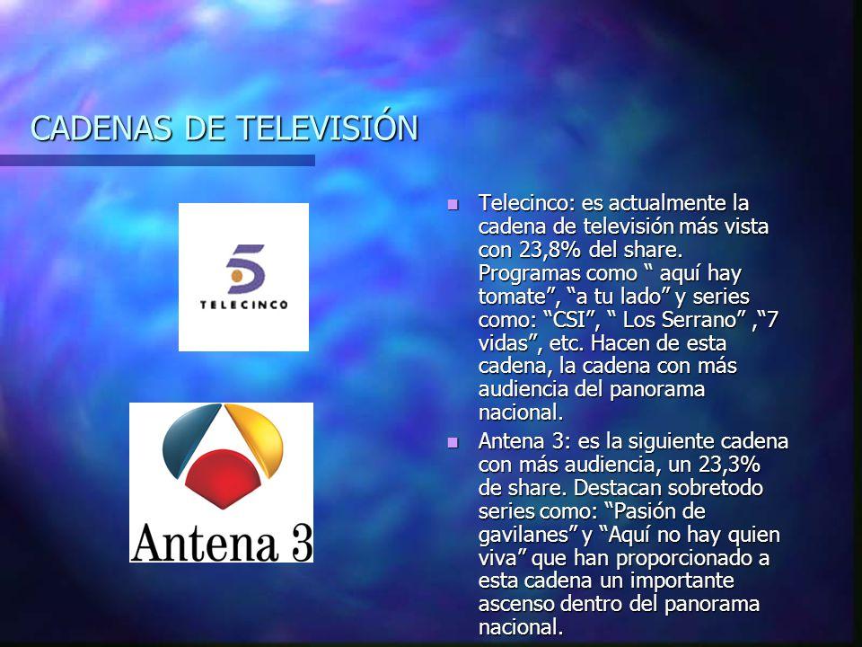 CADENAS DE TELEVISIÓN Telecinco: es actualmente la cadena de televisión más vista con 23,8% del share.