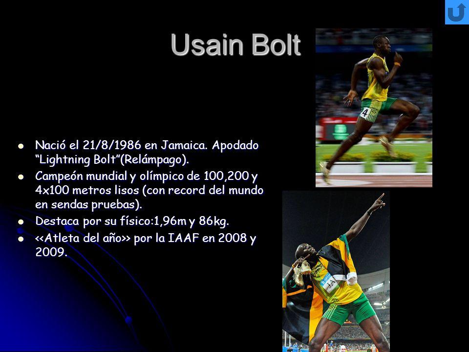 Usain Bolt Nació el 21/8/1986 en Jamaica. Apodado Lightning Bolt(Relámpago). Nació el 21/8/1986 en Jamaica. Apodado Lightning Bolt(Relámpago). Campeón