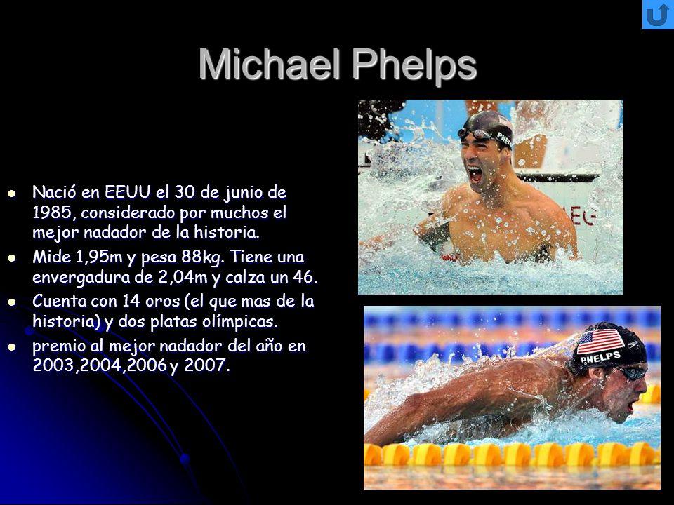 Michael Phelps Nació en EEUU el 30 de junio de 1985, considerado por muchos el mejor nadador de la historia. Nació en EEUU el 30 de junio de 1985, con