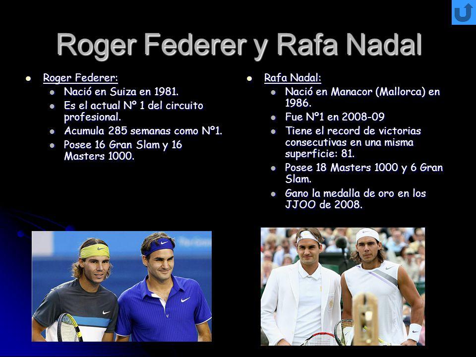 Roger Federer y Rafa Nadal Roger Federer: Roger Federer: Nació en Suiza en 1981. Nació en Suiza en 1981. Es el actual Nº 1 del circuito profesional. E