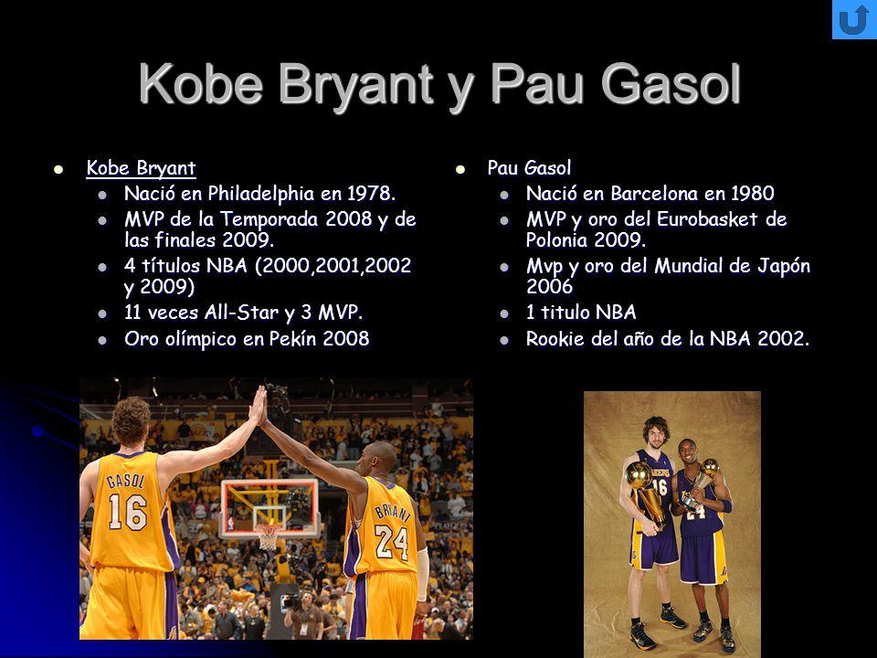 Kobe Bryant y Pau Gasol Kobe Bryant Kobe Bryant Nació en Philadelphia en 1978. Nació en Philadelphia en 1978. MVP de la Temporada 2008 y de las finale