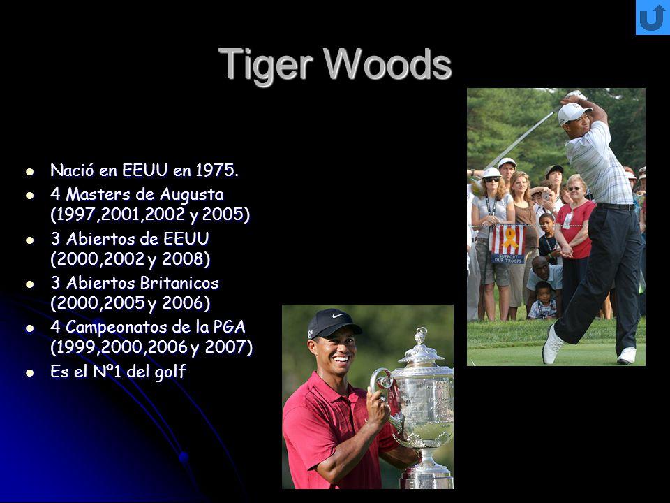 Tiger Woods Nació en EEUU en 1975. Nació en EEUU en 1975. 4 Masters de Augusta (1997,2001,2002 y 2005) 4 Masters de Augusta (1997,2001,2002 y 2005) 3