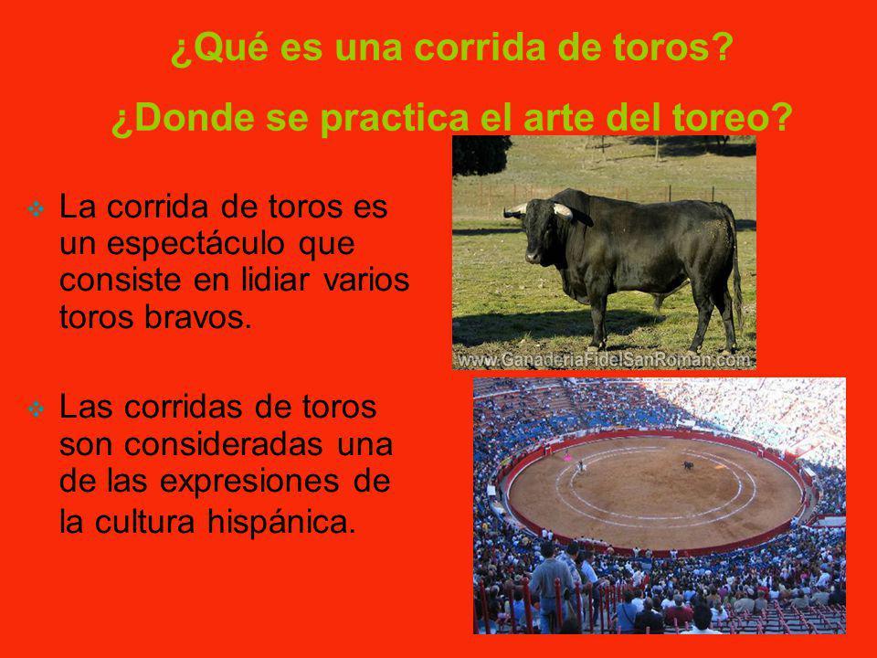 La corrida de toros es un espectáculo que consiste en lidiar varios toros bravos.