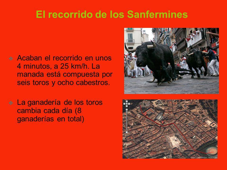 Los Sanfermines Transcurren en Pamplona entre el 6 y el 14 de julio. La fiesta comienza tras el chupinazo y cada día a las 8 de la mañana hay un encie