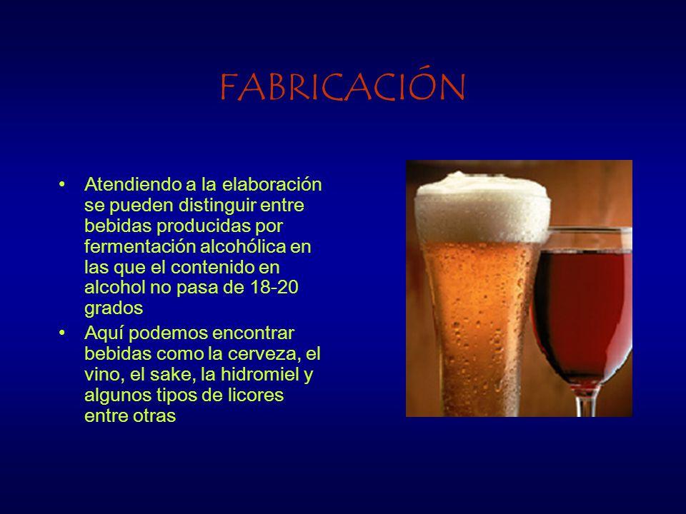 FABRICACIÓN Atendiendo a la elaboración se pueden distinguir entre bebidas producidas por fermentación alcohólica en las que el contenido en alcohol no pasa de 18-20 grados Aquí podemos encontrar bebidas como la cerveza, el vino, el sake, la hidromiel y algunos tipos de licores entre otras