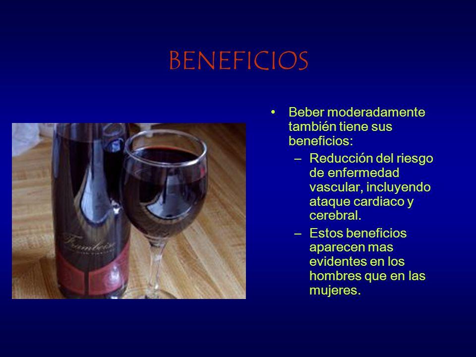 BENEFICIOS Beber moderadamente también tiene sus beneficios: –Reducción del riesgo de enfermedad vascular, incluyendo ataque cardiaco y cerebral.