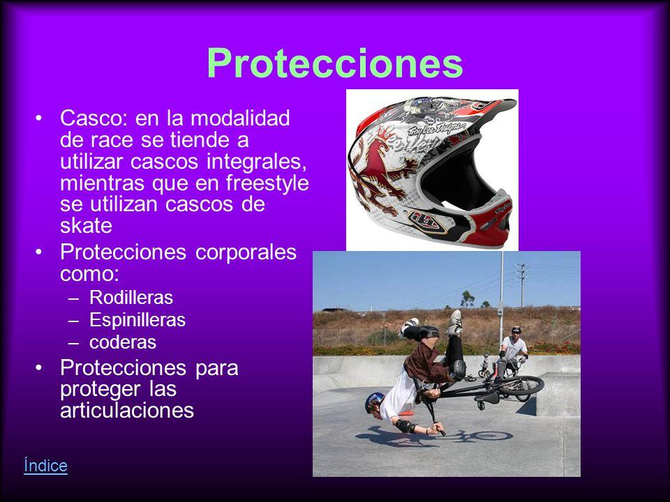Protecciones Casco: en la modalidad de race se tiende a utilizar cascos integrales, mientras que en freestyle se utilizan cascos de skate Protecciones corporales como: –Rodilleras –Espinilleras –coderas Protecciones para proteger las articulaciones Índice