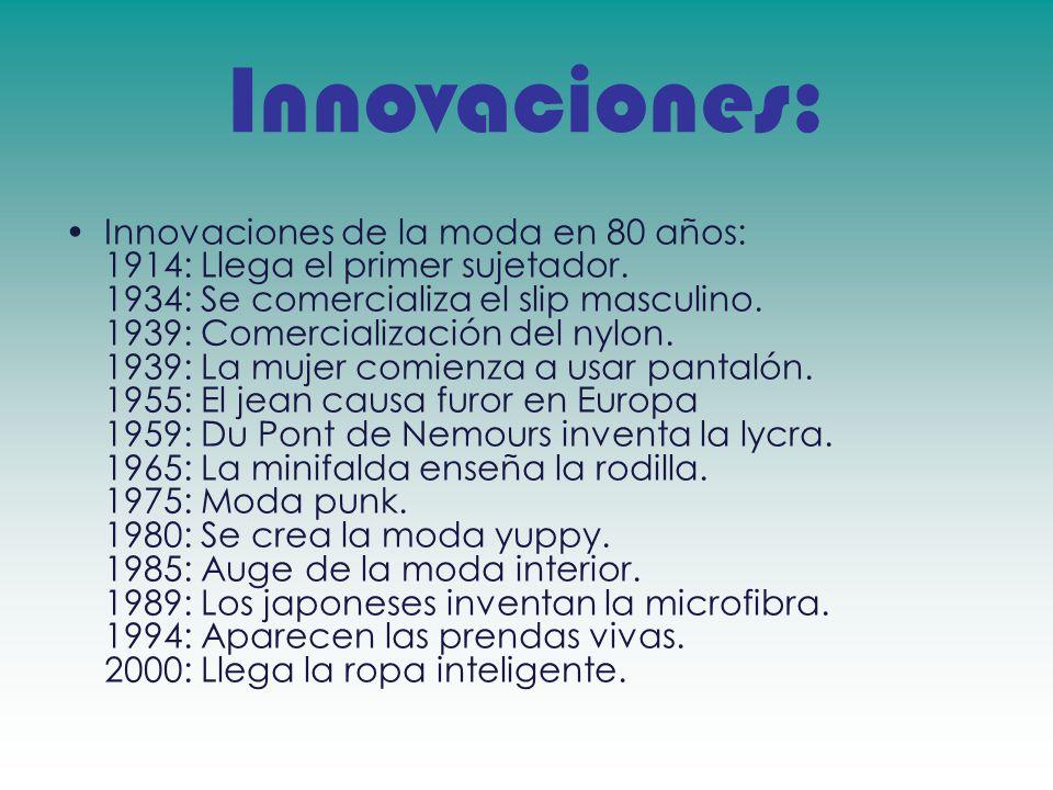 Innovaciones: Innovaciones de la moda en 80 años: 1914: Llega el primer sujetador. 1934: Se comercializa el slip masculino. 1939: Comercialización del