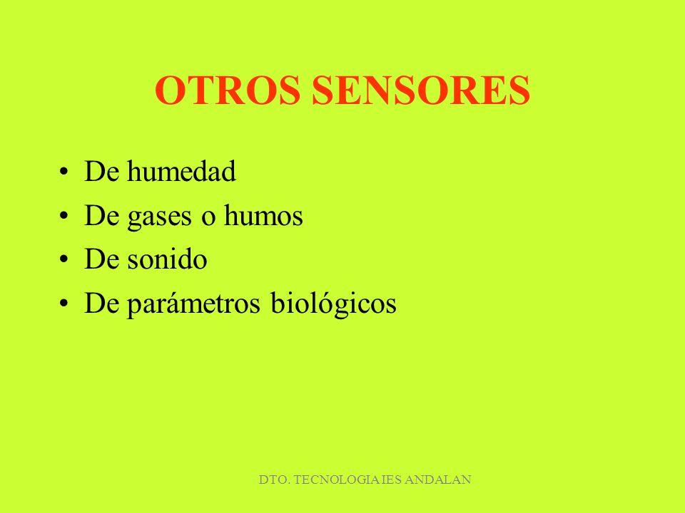 DTO. TECNOLOGIA IES ANDALAN OTROS SENSORES De humedad De gases o humos De sonido De parámetros biológicos