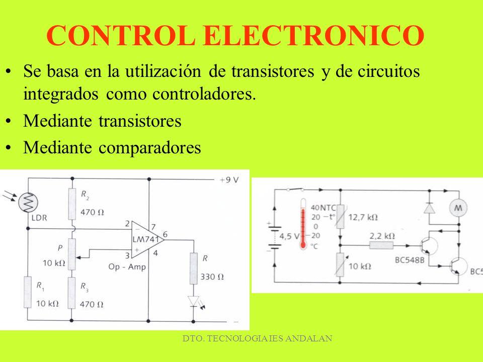 DTO. TECNOLOGIA IES ANDALAN CONTROL ELECTRONICO Se basa en la utilización de transistores y de circuitos integrados como controladores. Mediante trans
