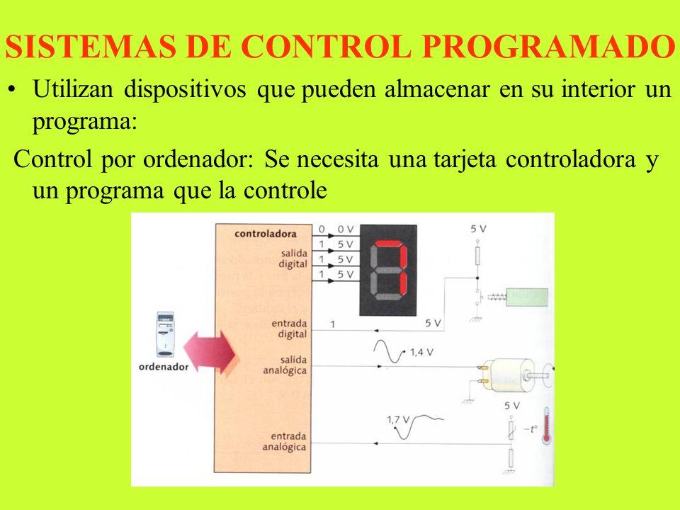 DTO. TECNOLOGIA IES ANDALAN SISTEMAS DE CONTROL PROGRAMADO Utilizan dispositivos que pueden almacenar en su interior un programa: Control por ordenado