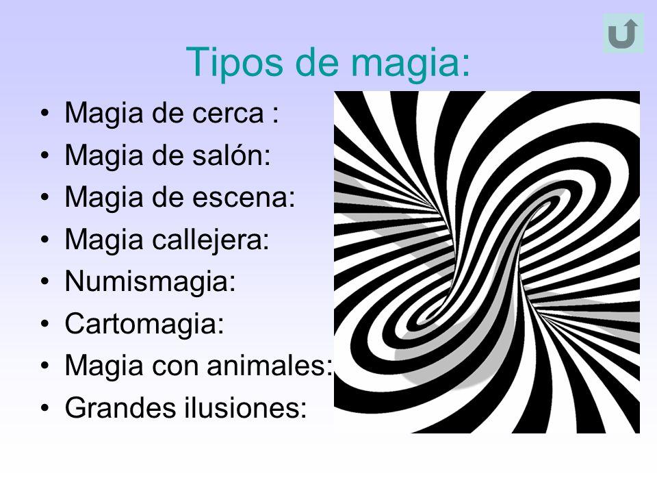Tipos de magia: Magia de cerca : Magia de salón: Magia de escena: Magia callejera: Numismagia: Cartomagia: Magia con animales: Grandes ilusiones: