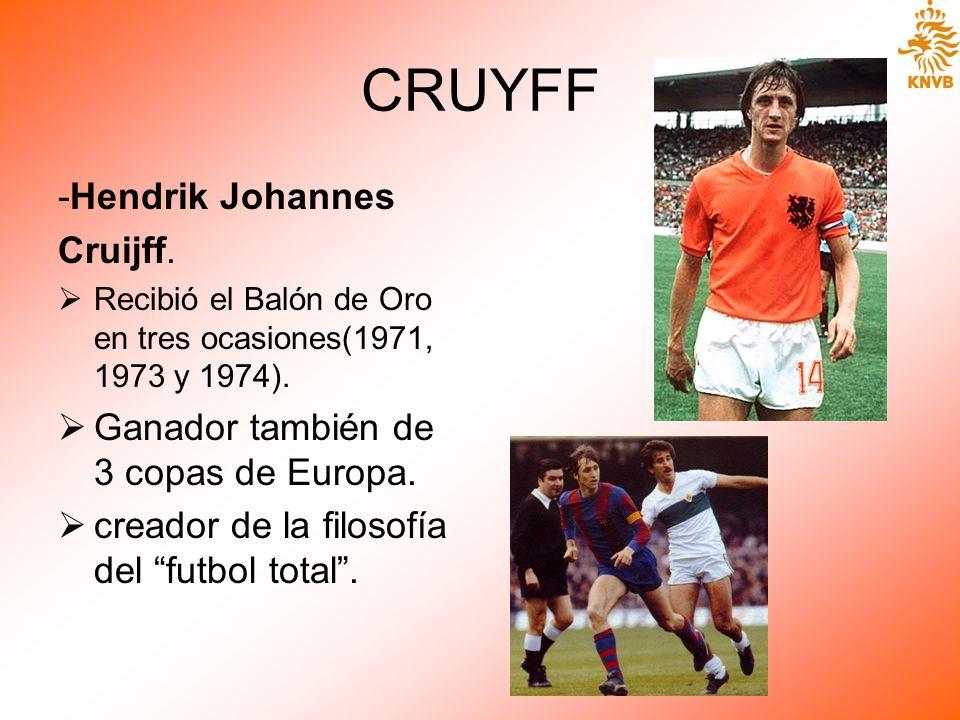 CRUYFF -Hendrik Johannes Cruijff. Recibió el Balón de Oro en tres ocasiones(1971, 1973 y 1974). Ganador también de 3 copas de Europa. creador de la fi